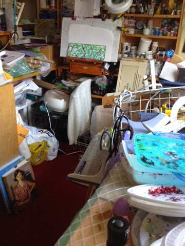 Robin Baratta artist studio after water pipe burst