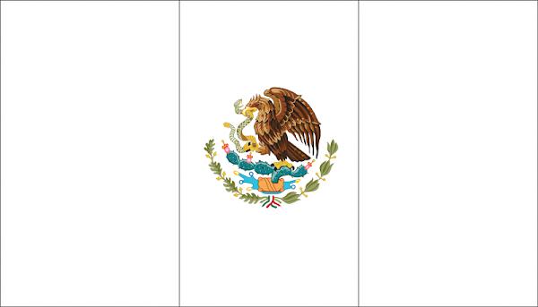 Bandera de México para colorear con escudo a colores