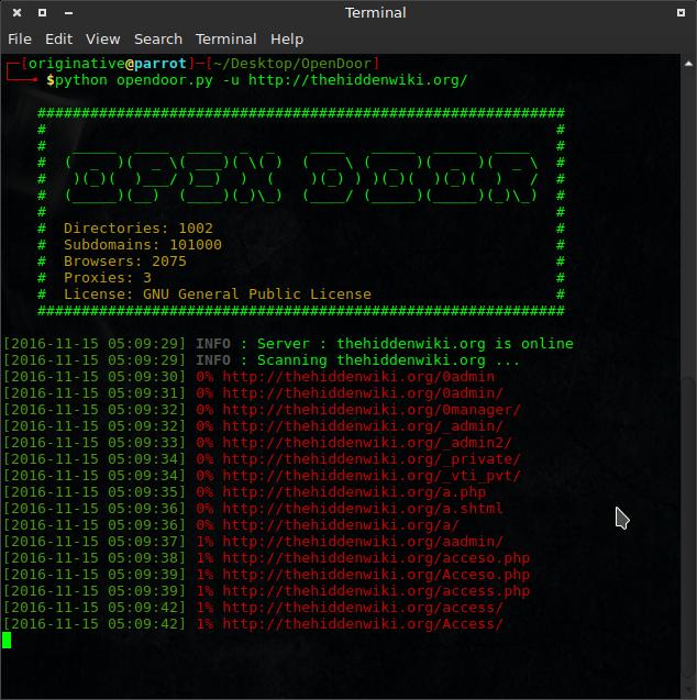 OpenDoor Directory Access scanner