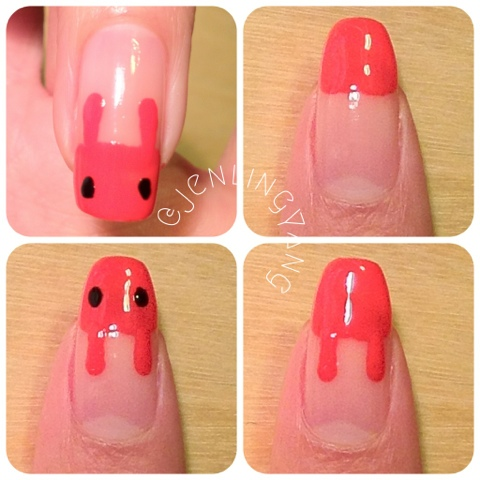 how to do cute red bunnies manicure nails