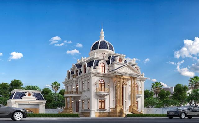 Mẫu biệt thự tân có thiết kế cổ điển ba tầng tại Bình Dương