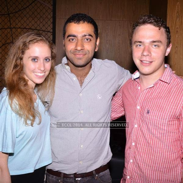 Julia, Viran and Alex during the art exhibition, held at at Le Meridien, in Bangalore.