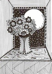 526 Zentangle Flowers And Moon