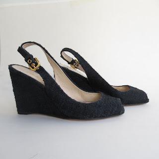 Prada Black Tweed Wedges