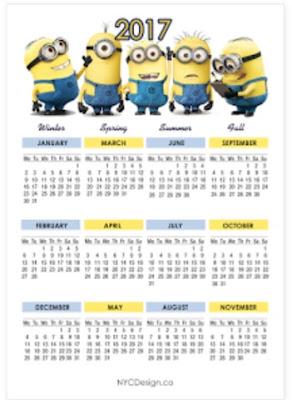 2017 minion calendar
