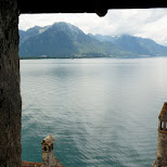 view from the turrets at Chillon Castle in Switzerland in Veytaux, Vaud, Switzerland