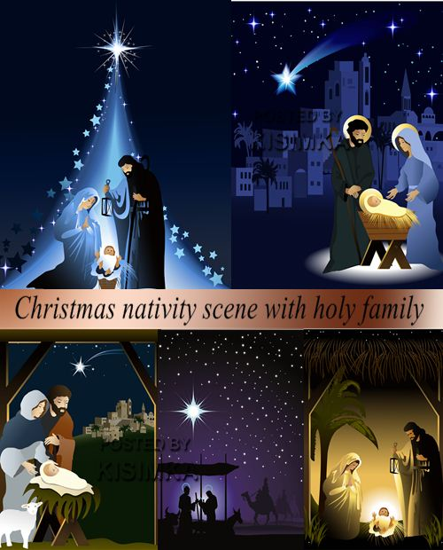Stock: Christmas nativity scene with holy family