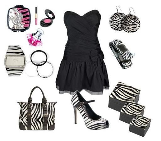 siyah mini elbise ve zebra desen