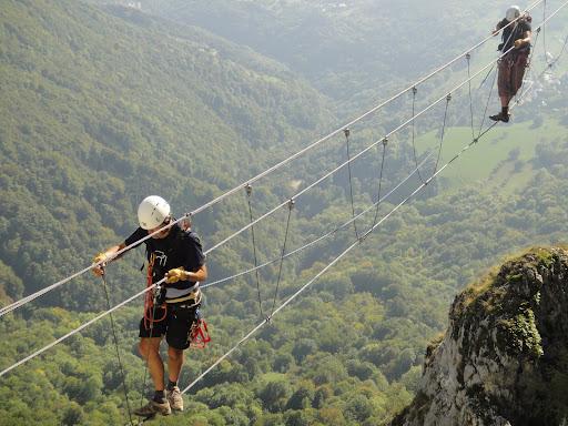 Népalese bridge, Jules Carret Via ferrata, Bauges mountain range, close to Chambéry