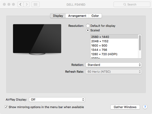Display Preference showing both resolutions