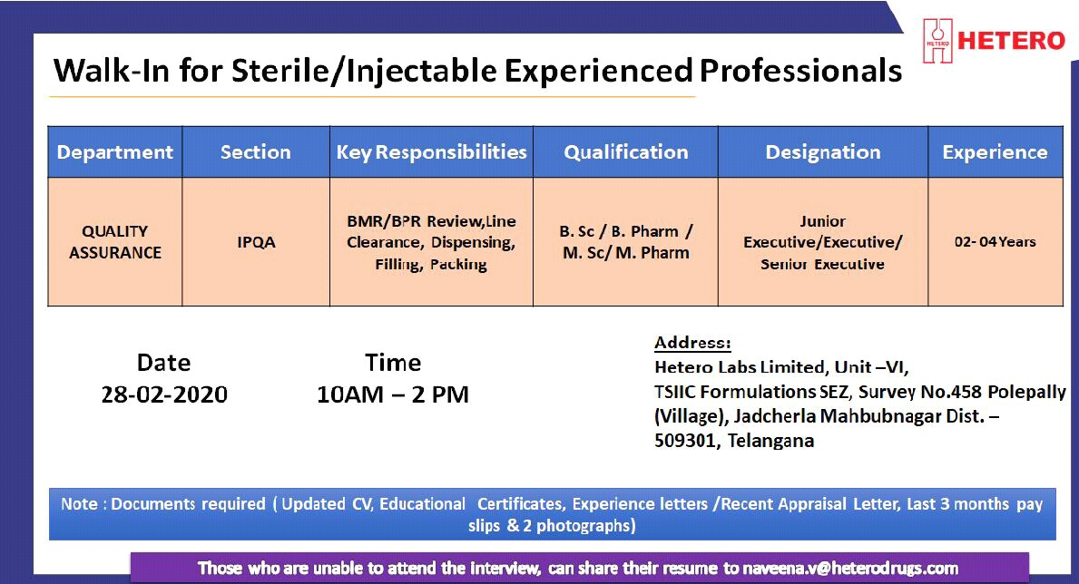 Hetero Labs Ltd - Walk-In Interviews for Sterile / Injectable Experienced Professionals on 28th Feb' 2020