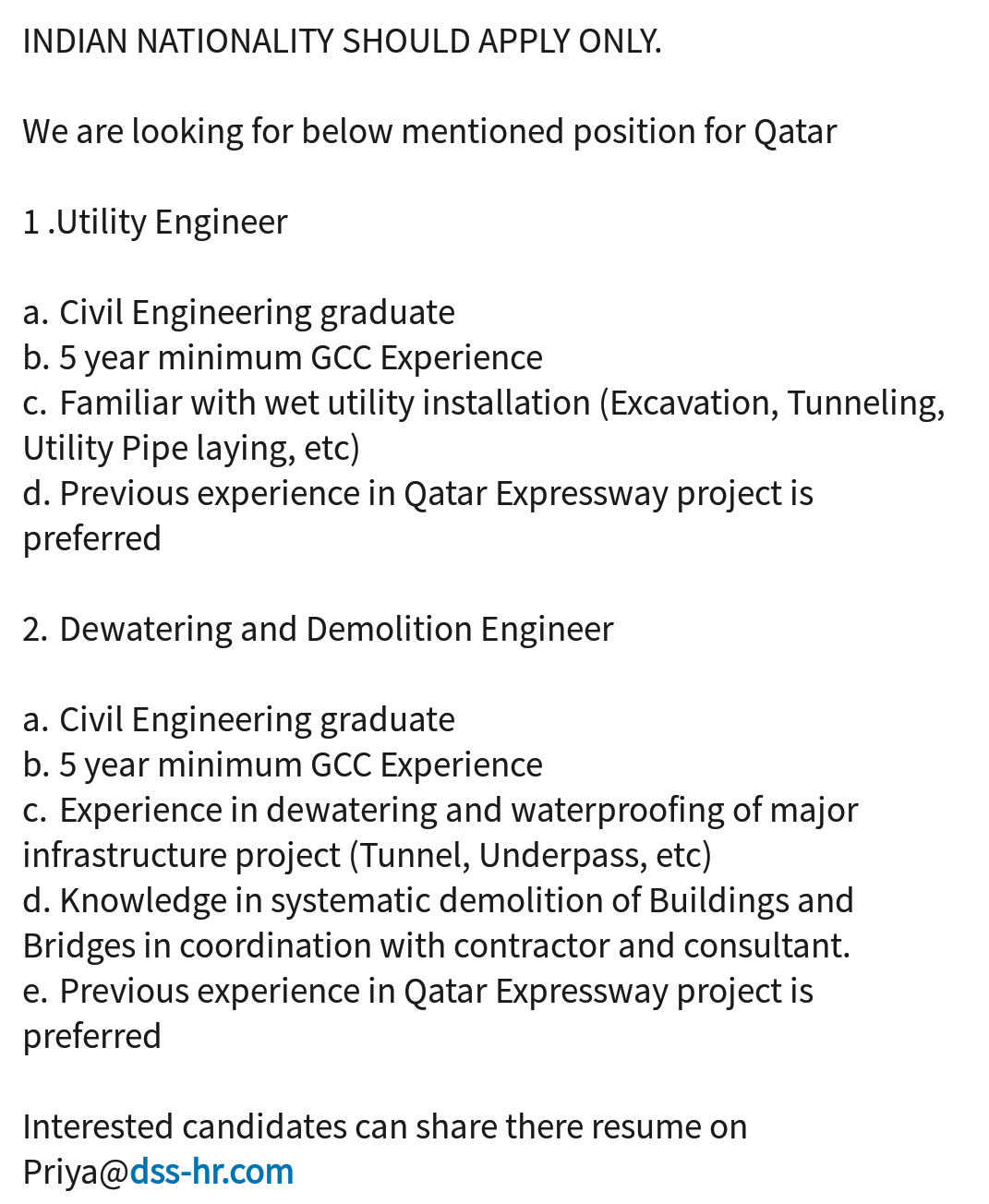 Oil And Gas Jobs Utility Engineer Dewateeing And Demolition Engineer