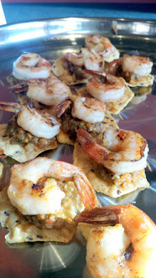 Fire Roasted Tomato and Poblano Dip with Grilled Shrimp by EastBurn paired with some Food Should Taste Good The Works! Multigrain Chips