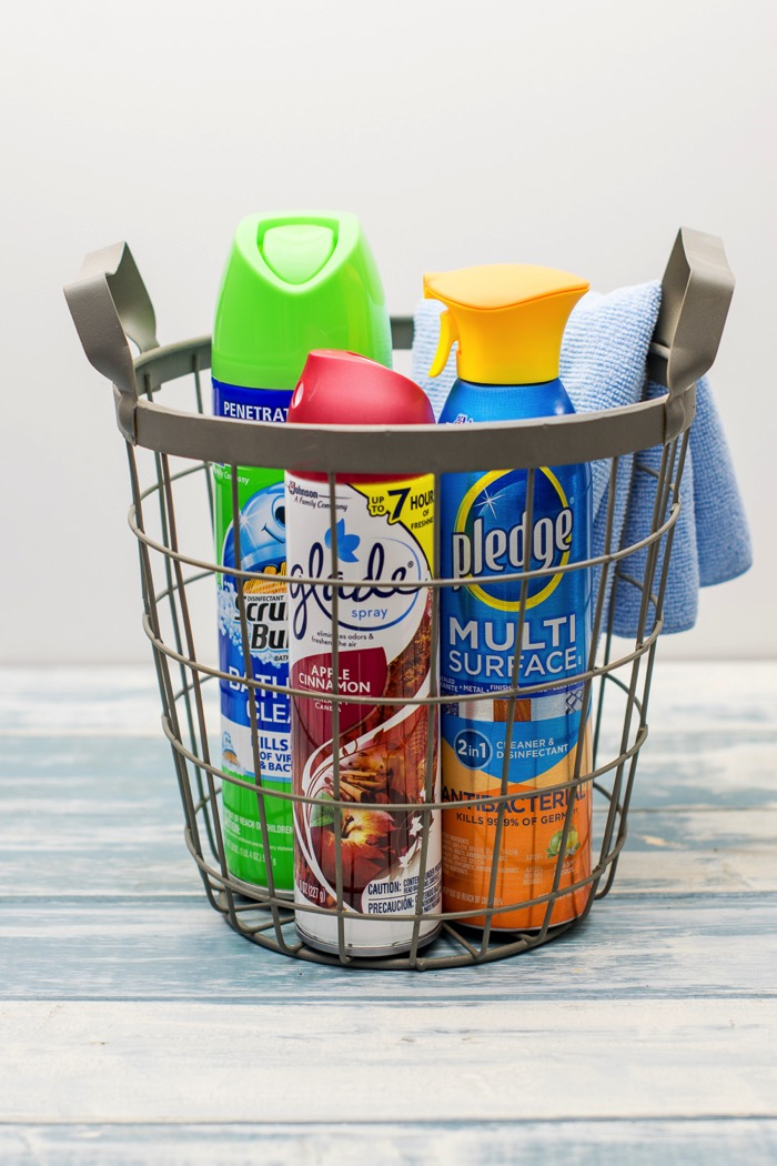 wire basket for cleaning supplies