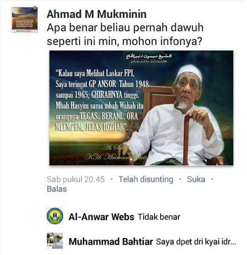 Meme Kh Maimoen Zubair Yang Memuji Fpi Ternyata Hoax
