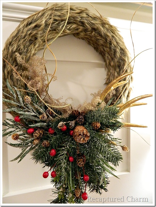 faux fur antler wreath 21