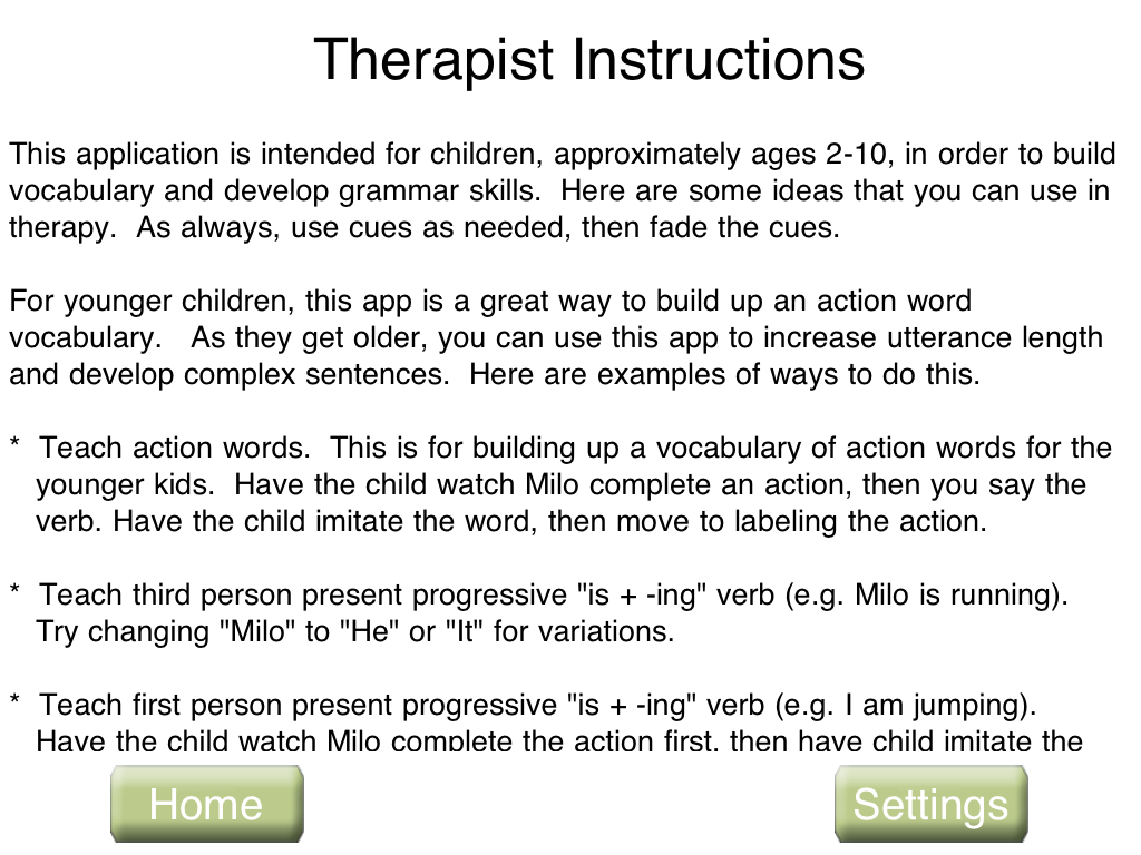 Speech With Milo Verbs Therapist Instructions