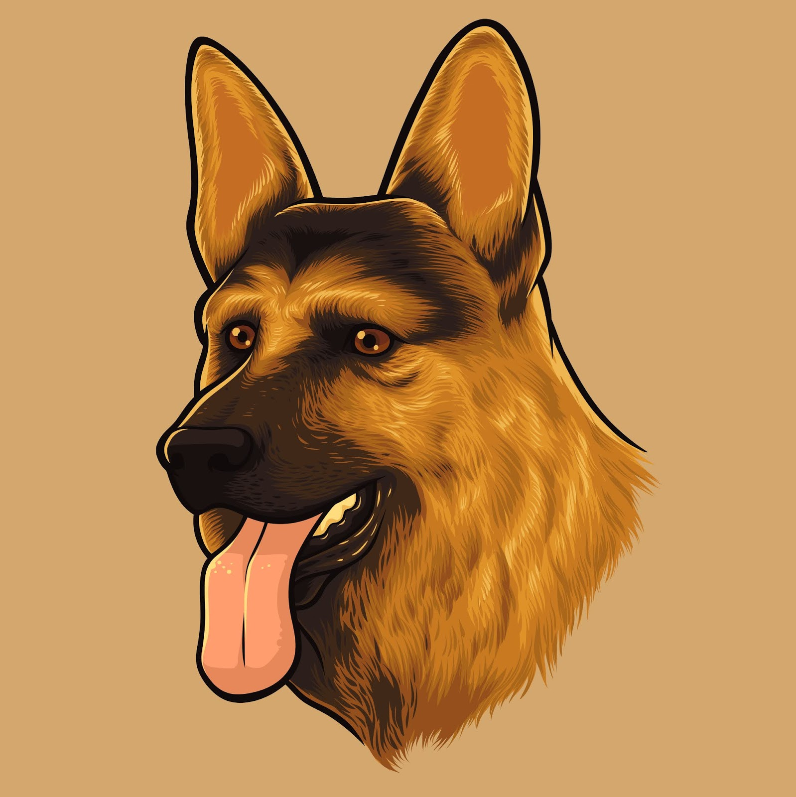 German Shepherd Dog Portrait Free Download Vector CDR, AI, EPS and PNG Formats