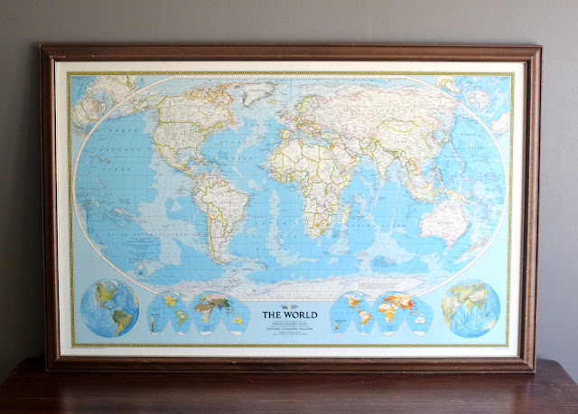 Large world map available for rent or purchase from www.momentarilyyours.com, $8.00.