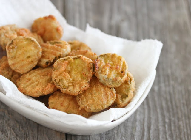 photo of a basket of fried pickles
