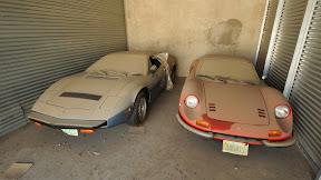Abandoned DeTomaso Pantera and Ferrari Dino