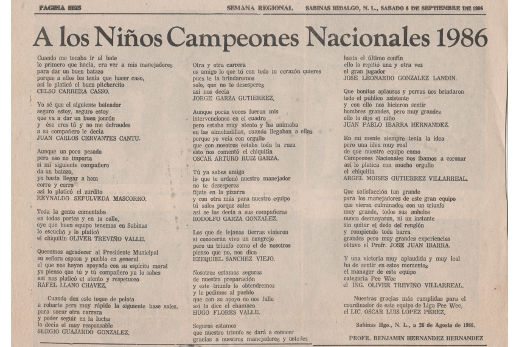 Versos a los niños campeones de 1986 por el Profr. Benjamín Hernández