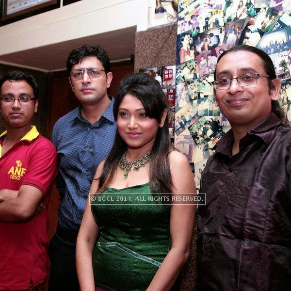 Soumya, Pryanshu Chatterjee,Meghna Halder , Supriya during the premiere of Ai Raat Tomar Amar, held in Kolkata.