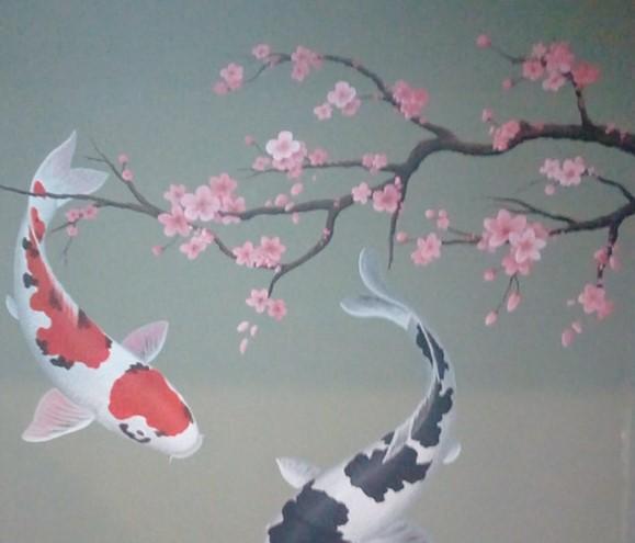 Karya Lukisan Mural Bunga Sakura Terbaik