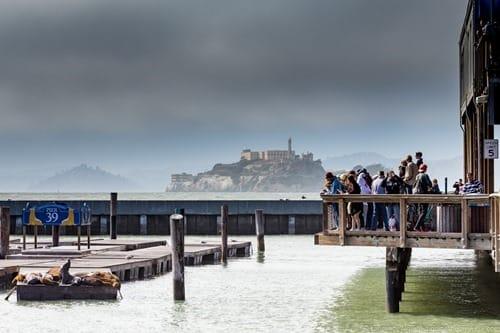 View of Alcatraz from Pier 39 San Francisco