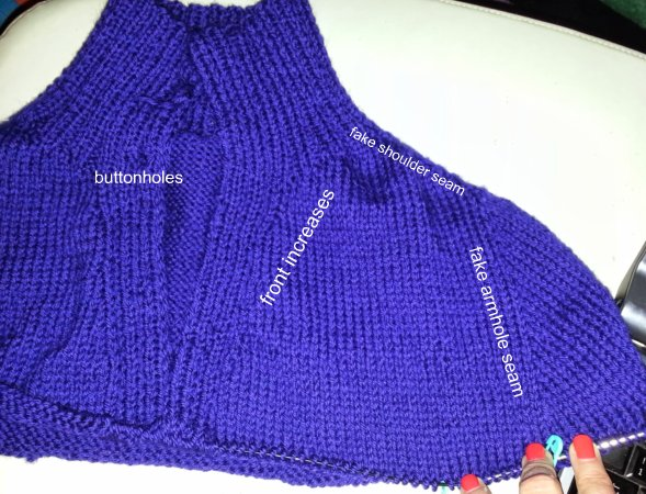 detail of shaping on the blue-violet cardigan in progress