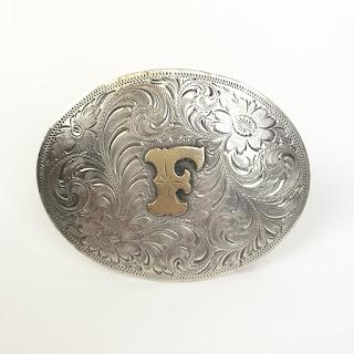 """Sterling Silver Frontier Silver """"F"""" Belt Buckle"""