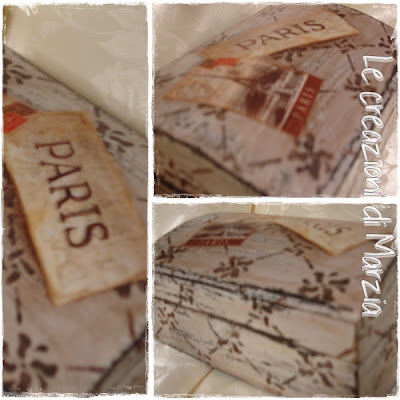 dettagli scatola vintage dedicata a Parigi
