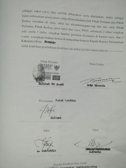 Surat Perjanjian Jasa Perantara Atas Jual Beli Rumahtanah