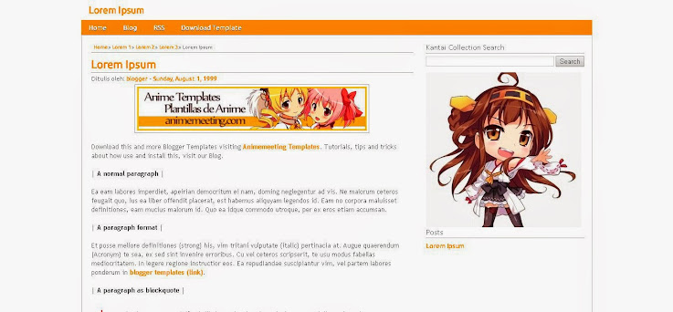 anime blogger template Kantai Collection