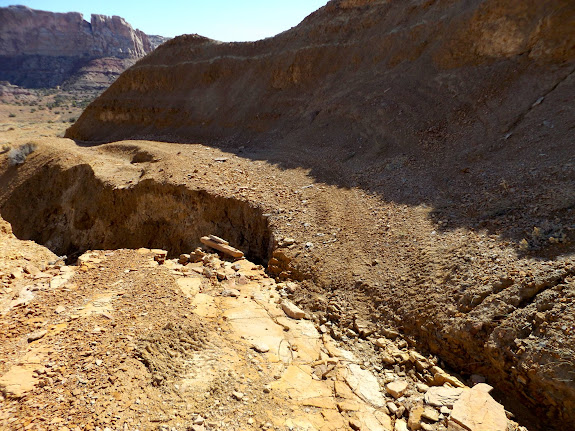 Washed road into upper Farnsworth Canyon