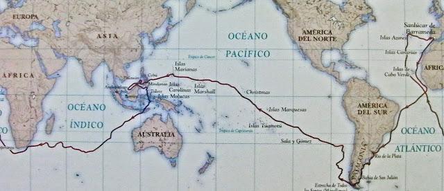 Ruta de la expedición Magallanes-Elcano. Primera vuelta al mundo - www.historiadelascivilizaciones.com
