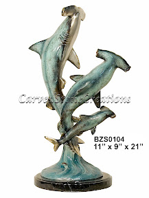 Bronze, Hammerhead, Sharks, Statue