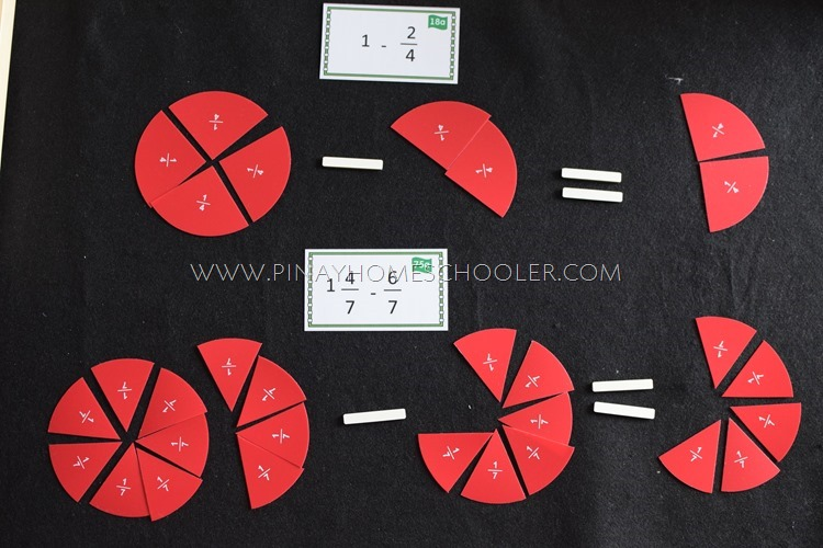 Montessori Subtraction of Mixed Fractions