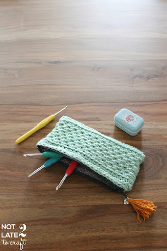 Not 2 late to craft: Estoig de ganxet amb punt baix altern / Alternating single crochet stitch pouch