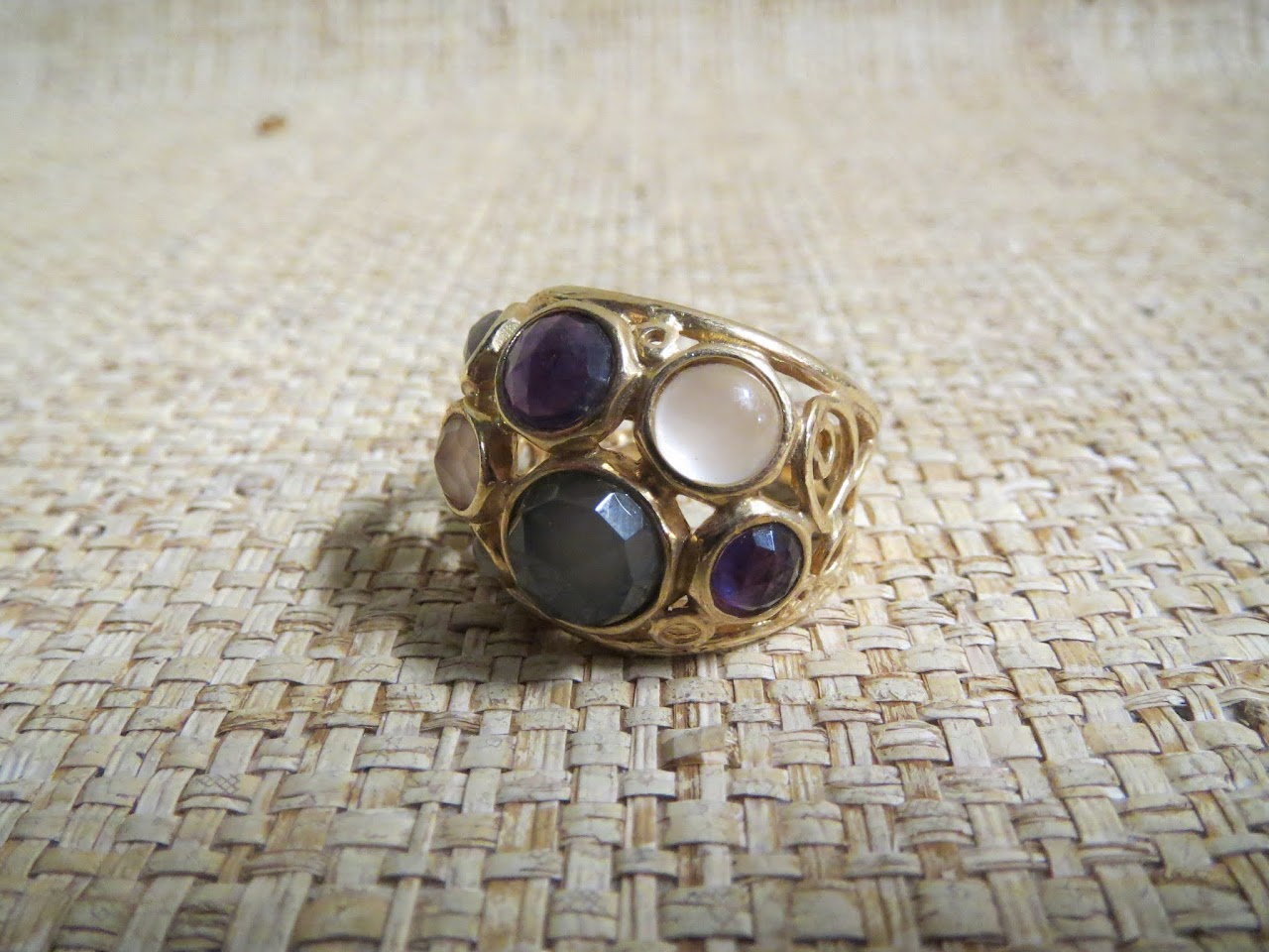 Gold-Plated Ring with Stones
