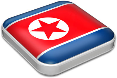 Flag of North Korea with metallic square frame