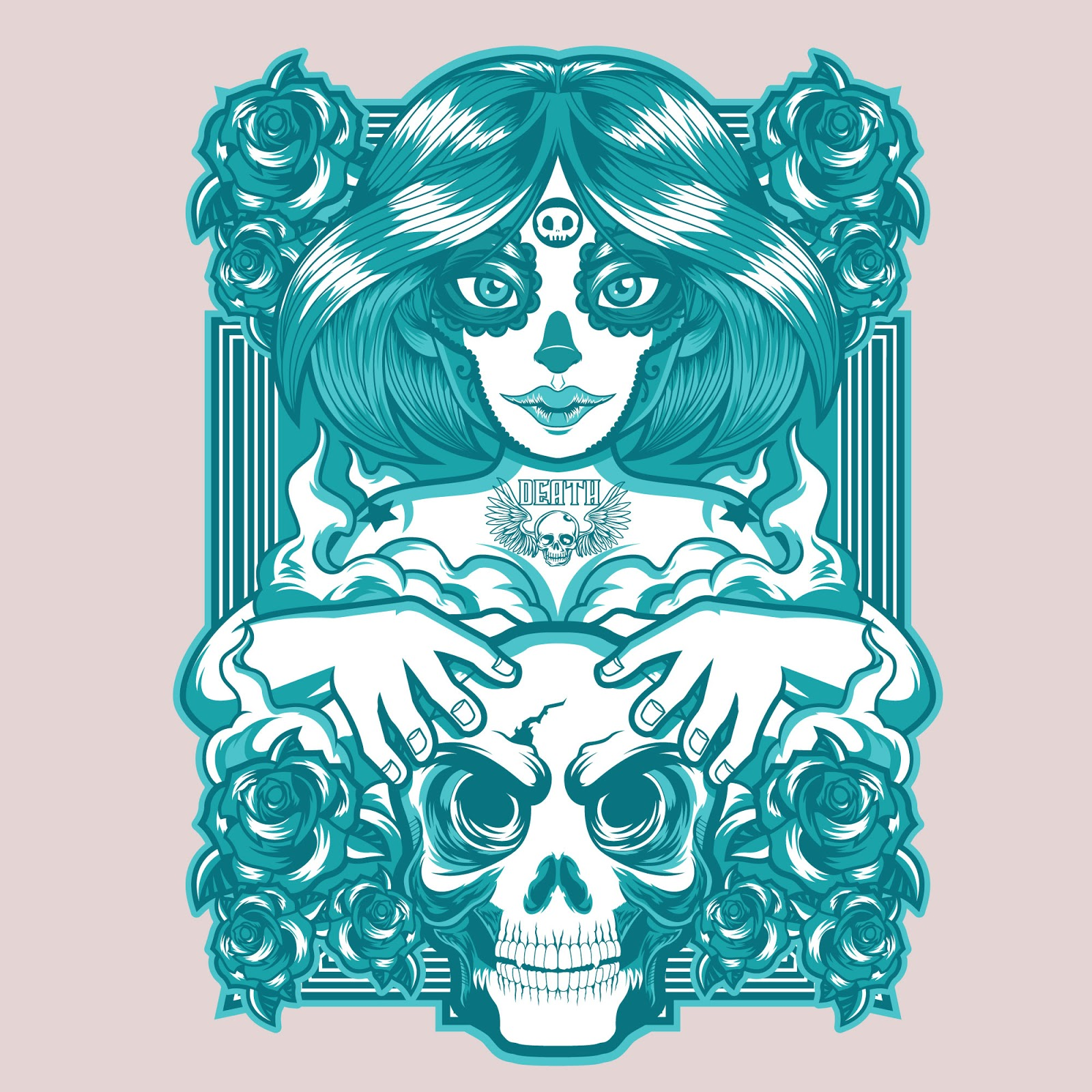 Skull Girl T Shirt Design Free Download Vector CDR, AI, EPS and PNG Formats
