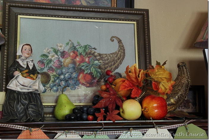 needlepoint cornucopia for Thanksgiving Decor