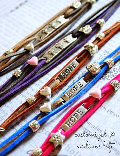 Customised bracelets ordered from Adeline Loft