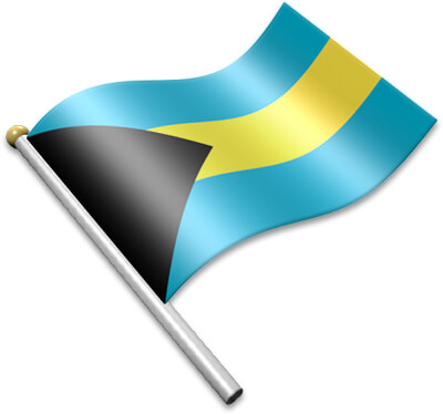 The Bahamian flag on a flagpole clipart image