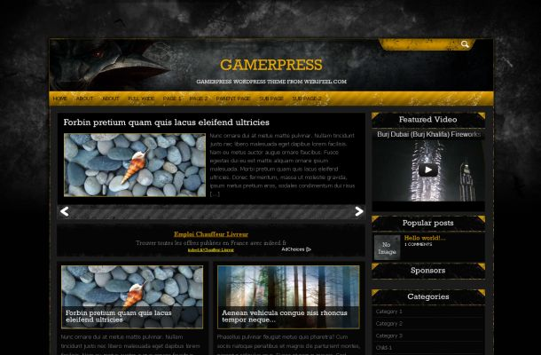 Dark Black Yellow Games Wordpress Theme Template