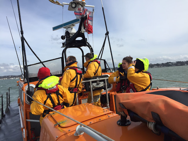 Training exercise with a Brownsea Island passenger ferry, 10 April 2016.  Photo credits: Poole RNLI