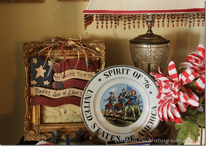Patriotic plate in vignette