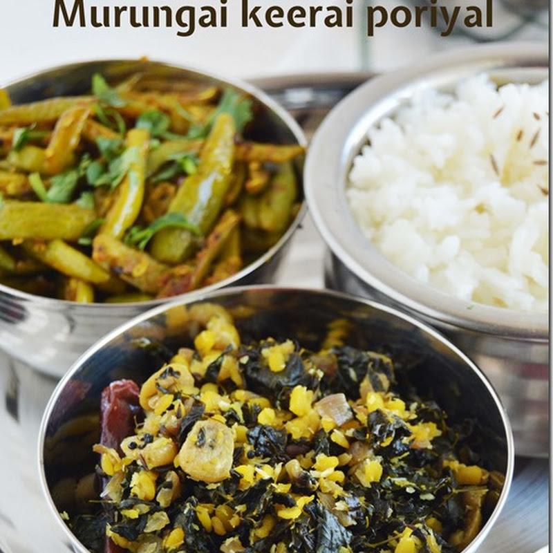 Murungai keerai poriyal / Drumstick leaves stir fry