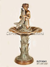 Boy, Bronze, Fish, Fountain, Statue